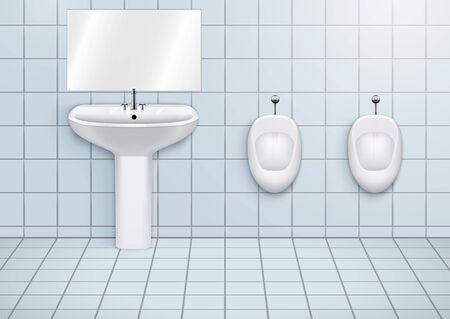 Salle d'eau WC avec lavabo et urinoirs en porcelaine blanche. Toilettes publiques Intérieur avec lavabos et toilettes en céramique. Vue de face et support mural. Illustration vectorielle