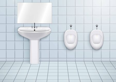 WC washroom with white porcelain sink and urinals. Public restroom Interior with ceramic washbasins and toilet. Front view and wall mount. Vector Illustration Archivio Fotografico - 127833928