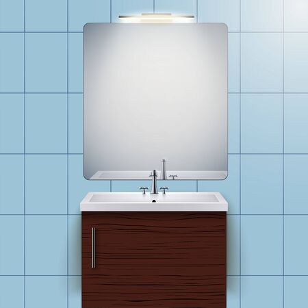Washbasin cabinet with mirror and light. Domestic bathroom Interior. White porcelain sink and wooden stand cabinet. Front view and wall mount. Vector Illustration Standard-Bild - 128044297