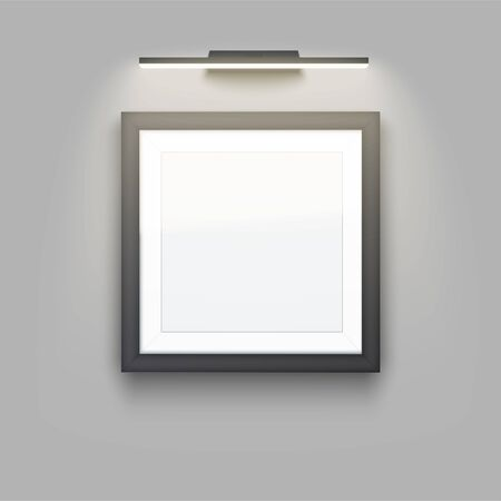 Picture frame with light. Gallery Interior Mockup. Square Black frame with spotlight for photography image and painting. Poster Closeup view. Editable Vector Illustration.