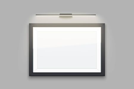 Picture frame with light. Gallery Interior Mockup. Horizontal Rectangle Black frame with spotlight for photography image and painting. Poster Closeup view. Editable Vector Illustration.