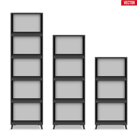 Set of Empty rack with shelves or bookshelf stand. Black color. Sample Furniture Home and Workplace Interior element. Vector Illustration isolated on white background Standard-Bild - 129228750