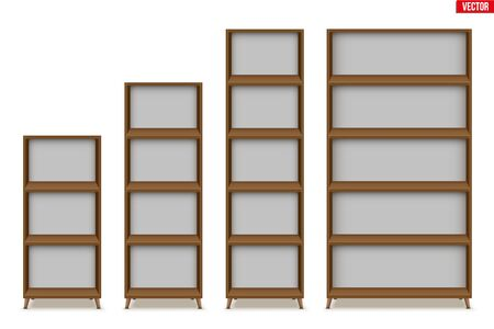 Set of Empty rack with shelves or bookshelf stand. Sample Furniture Home and Workplace Interior element. Vector Illustration isolated on white background Standard-Bild - 129228763