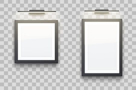 Set of Picture frame with LED light. Gallery Interior Element Mockup. Black frame with spotlight for photography image and painting. Square and rectangle. Editable Vector Illustration Stock Vector - 129228776