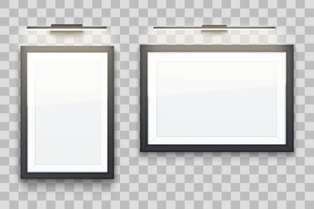Set of Picture frame with LED light. Gallery Interior Element Mockup. Wide rectangle Black frame with spotlight for photography and painting. Editable Vector Illustration on transparent background. Illustration