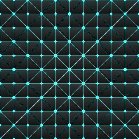 Futuristic cyberpunk texture. Abstract seamless geometric pattern. Cyberspace 3d effect background. Vector Illustration. Standard-Bild - 129228970