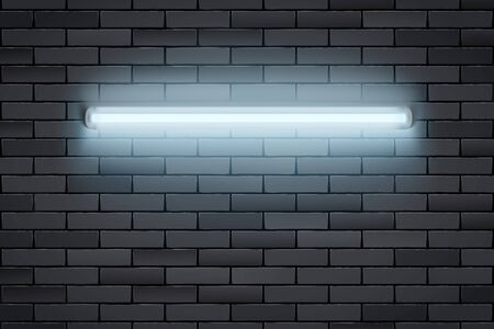 White Neon lamp on Black brick wall. Horizontal fluorescent light lamp. Grunge Industrial Background. Vector Illustration.