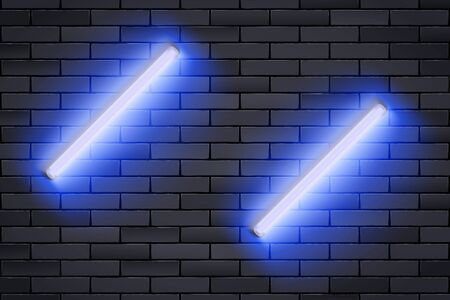 Blue Neon lamp on Black brick wall. Horizontal fluorescent light lamp. Grunge Industrial Background. Vector Illustration.