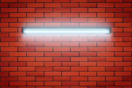 White Neon lamp on Red brick wall. Horizontal fluorescent light lamp. Grunge Industrial Background. Vector Illustration.