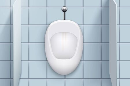 Toilet cubicle. WC restroom and white porcelain urinals in row. Public Toilet Interior with ceramic urinals. Closeup Front view and wall mount. Vector Illustration Illustration