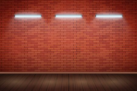 White Neon lamps on Red brick wall. Horizontal fluorescent light lamp. Grunge Industrial Background. Vector Illustration.
