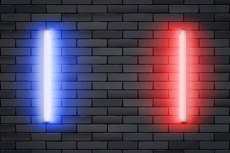 Blue and Red Neon lamps on Black brick wall. Horizontal fluorescent light lamp. Grunge Industrial Background. Vector Illustration.