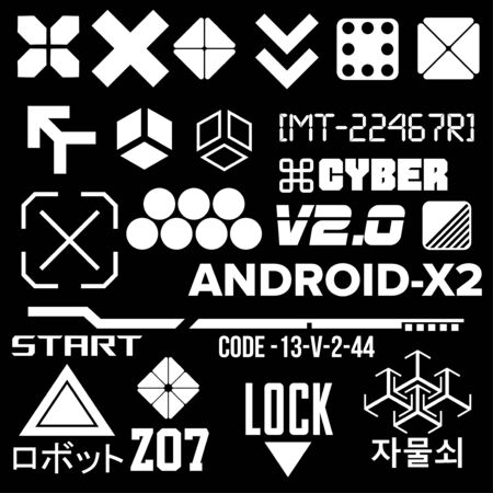 Cyberpunk Elements. Sign and text in Cyberpunk style for cloth and interface. Japanese and Korean inscriptions. Vector Illustration isolated. Illustration