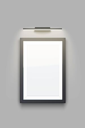 Sample Picture rectangle frame with LED light. Gallery Interior Element Mockup with backlight. Black frame with spotlight for photography image and painting. Editable Vector Illustration Isolated