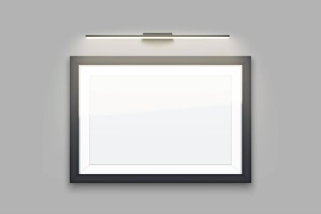 Sample Picture wode frame with LED light. Gallery Interior Element Mockup with backlight. Black frame with spotlight for photography image and painting. Editable Vector Illustration Isolated