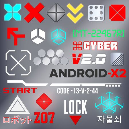Cyberpunk Elements. Sign and text in Cyberpunk style for cloth and interface. Japanese and Korean inscriptions. Vector Illustration isolated. Ilustração