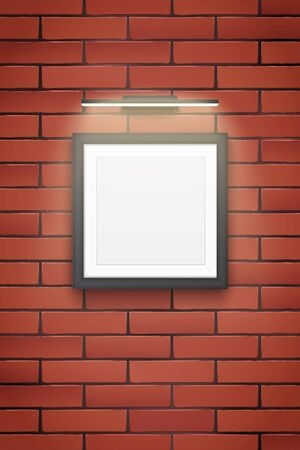 Sample Picture square frame with LED light on brick wall. Gallery Interior Element Mockup with backlight. Black frame with spotlight for image and painting. Editable Vector Illustration Isolated