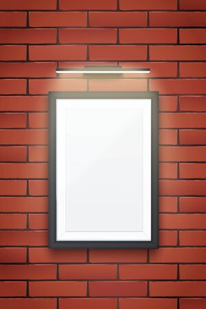 Sample Picture frame with LED light on brick wall. Gallery Interior Element Mockup with backlight. Black frame with spotlight for image and painting. Editable Vector Illustration Isolated