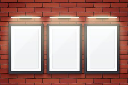 Sample Three Picture frames with LED light on brick wall. Gallery Interior Element Mockup with backlight. Black frame with spotlight for image and painting. Editable Vector Illustration Isolated