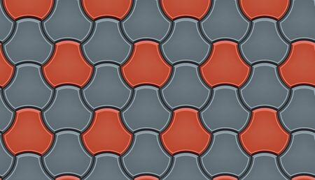 Modello senza cuciture delle finitrici in ciottoli piastrellati. Piastrelle stradali a mosaico geometrico. Colore rosso e grigio. Milano Pavers blocco di lastre per pavimentazione. Illustrazione vettoriale modificabile
