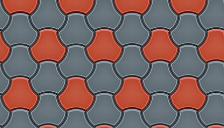 Seamless pattern of tiled cobblestone pavers. Geometric mosaic street tiles. Red and gray color. Milano Pavers block of paving slabs. Editable Vector Illustration 일러스트
