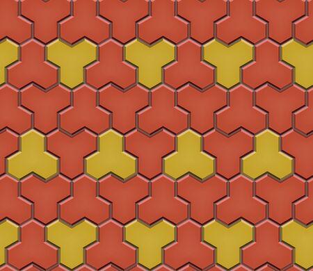 Patrón sin fisuras de adoquines de adoquines de baldosas. Azulejos de calle de mosaico geométrico. Color rojo y amarillo. Adoquín de losas de pavimento. Ilustración vectorial editable Ilustración de vector