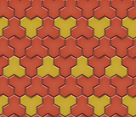 Seamless pattern of tiled cobblestone pavers. Geometric mosaic street tiles. Red and yellow color. Paver block of paving slabs. Editable Vector Illustration Stock Illustratie