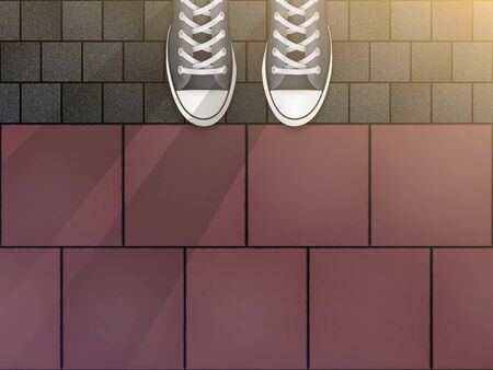 Feet in sneakers on cobblestone pavers and granite tiles. Concept of walking trip and exploring the city. Illustration of a self-guided tour of cities and streets. Vector Illustration Illusztráció