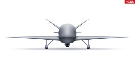 UAV Drone. Military Unmanned aircraft spy. Front view. Vector Illustration isolated on white background. Reklamní fotografie - 135503838