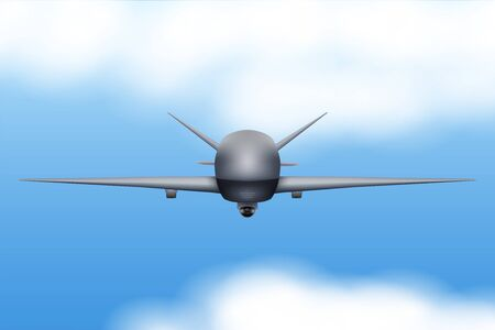 UAV Drone. Military Unmanned aircraft spy. Flight in sky. Front view. Vector Illustration. Reklamní fotografie - 135503841