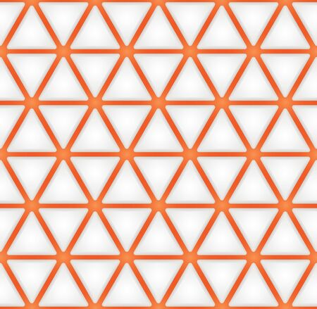 Futuristic Sci Fi seamless pattern. Abstract Cyberpunk geometric texture. Astronaut 3d effect background. White and orange color. Vector Illustration.