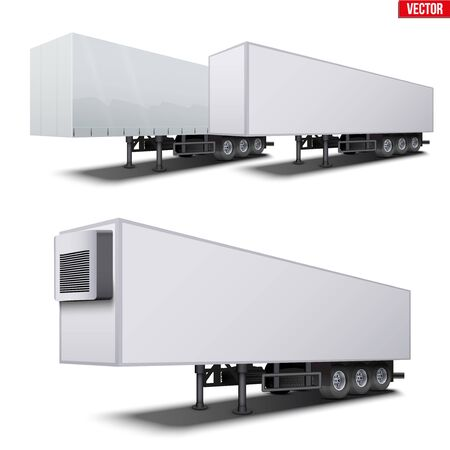 Set of parked van semi trailers without trucks. Canvas cover and refrigerator . Perspective side view. Vector Illustration Isolated on white background