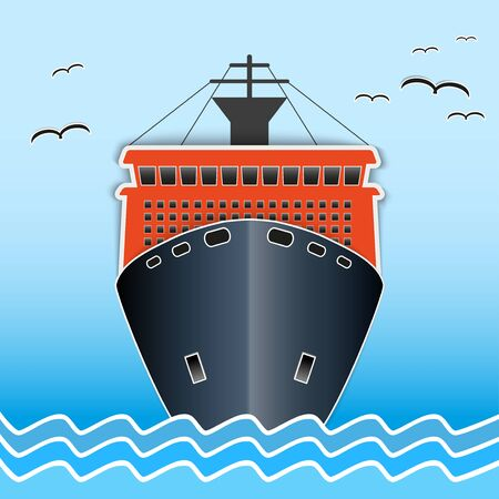 Illustration of the scientific research icebreaker nautical vessel. Background of trendy style with paper applications is and origami. Vector Illustration.