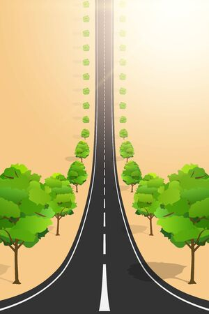 Droneception Road Landscape with trees. View on highway and plantations from above. Creative Concept of Droneception Effect. Vector Illustration.