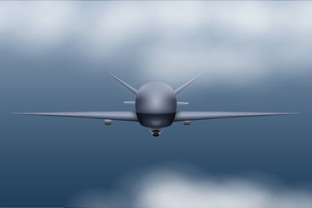 UAV Drone. Military Unmanned aircraft spy. Flight in storm sky. Front view. Vector Illustration. Ilustrace