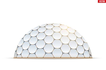 Geodesic dome of hexagon honeycombs form. Hemispherical thin-shell structure. Vector Illustration isolated on white background.