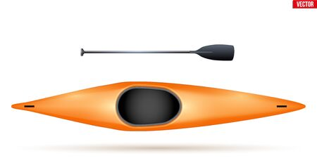 Single canoe and paddle for extreme water sports. Top view of Equipment whitewater slalom canoeing. Vector Illustration isolated on white background. 일러스트