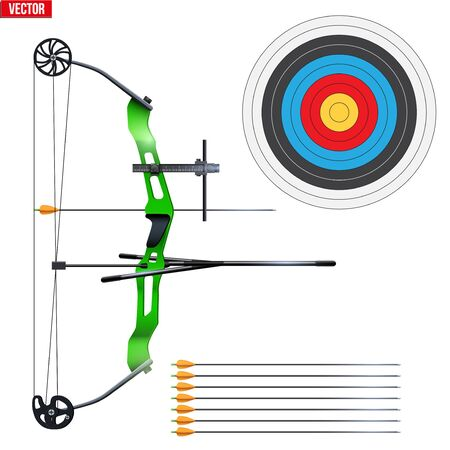 Set of Compound Bow with sparrows and target. Archery Sport Equipment. Classic sporting model for Games and Competition Range. Vector Illustration isolated on white background.
