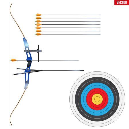 Juego de tiro con arco recurvo con flechas y objetivo. Equipo deportivo de tiro con arco. Modelo deportivo clásico para Gama Juegos y Competición. Ilustración de vector aislado sobre fondo blanco.