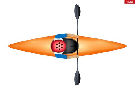 Slalom Single Kayak with paddler inside. Extreme water sports. Top view of Equipment whitewater slalom kayaking. Vector Illustration isolated on white background.