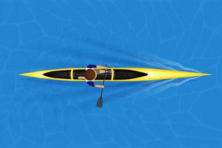 Single canoe and paddler on water surface. Top view of Equipment whitewater sprint canoeing in moving. Vector Illustration 向量圖像