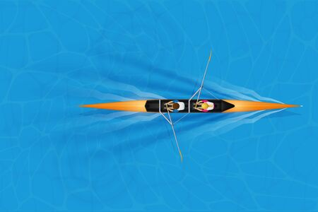 Double Racing shell with mixed paddlers for rowing sport on water surface. Two paddlers mixed race. Woman and Man and inside boat. Top view. Vector Illustration 일러스트