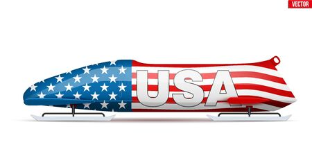 Bob sleighs with USA flag and text. Bobsleigh Sport Country Symbol. Side view. National team for Bobsled and Skeleton. Vector Illustration isolated on white background. Illustration