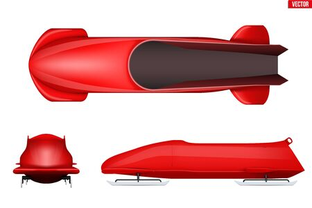 Set of Classic bobsleigh for two athletes. Top and front and side view. Sporting equipment for Double Bobsled race. Vector Illustration isolated on white background. Vettoriali