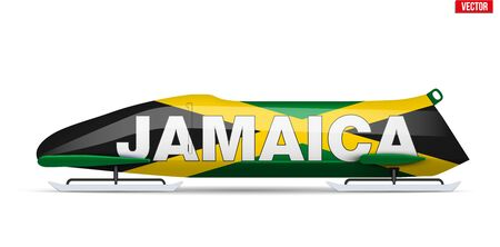 Bob sleighs with Jamaica flag and text. Bobsleigh Sport Country Symbol. Side view. National team for Bobsled and Skeleton. Vector Illustration isolated on white background.