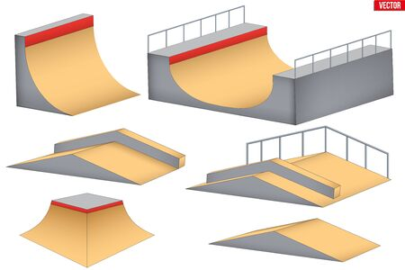 Skatepark elements. Different figures for urban skate park. Funbox and ramp and rail. Vector Illustration isolated on white background.