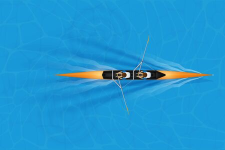 Double Racing shell with man paddlers for rowing sport on water surface. Two paddlers double race. Mans and boat. Top view. Vector Illustration