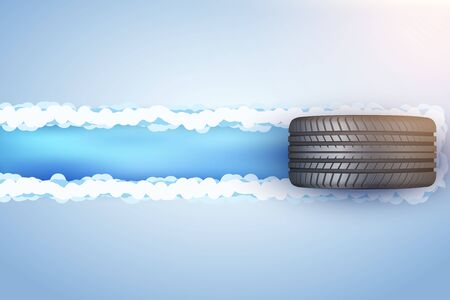 Car tire with track trace on snow and ice. Horizontal Concept illustration with space for your design. Vector Illustration. Vector Illustratie