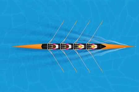 Four Racing shell with mixed paddlers for rowing sport on water surface. Four paddlers skull rowing mixed race. Woman and Man and inside boat. Top view. Vector Illustration 일러스트