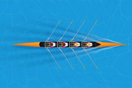 Quatre coques Racing avec rameurs mixtes pour le sport d'aviron sur la surface de l'eau. Quatre pagayeurs crâne aviron race mixte. Femme et homme et à l'intérieur du bateau. Vue de dessus. Illustration vectorielle